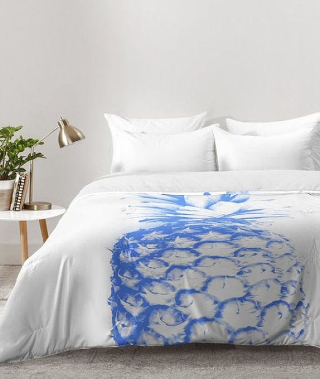 Modern Blue Pineapple Print Duvet For Bedroom Decor