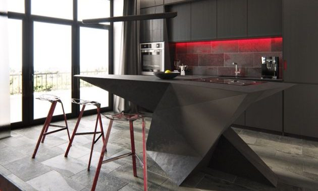 Modern Kitchen Island With Alluring Red Lighting
