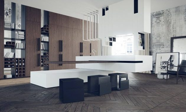 Modern Kitchen Island With Cantilevered Dining Table Extension
