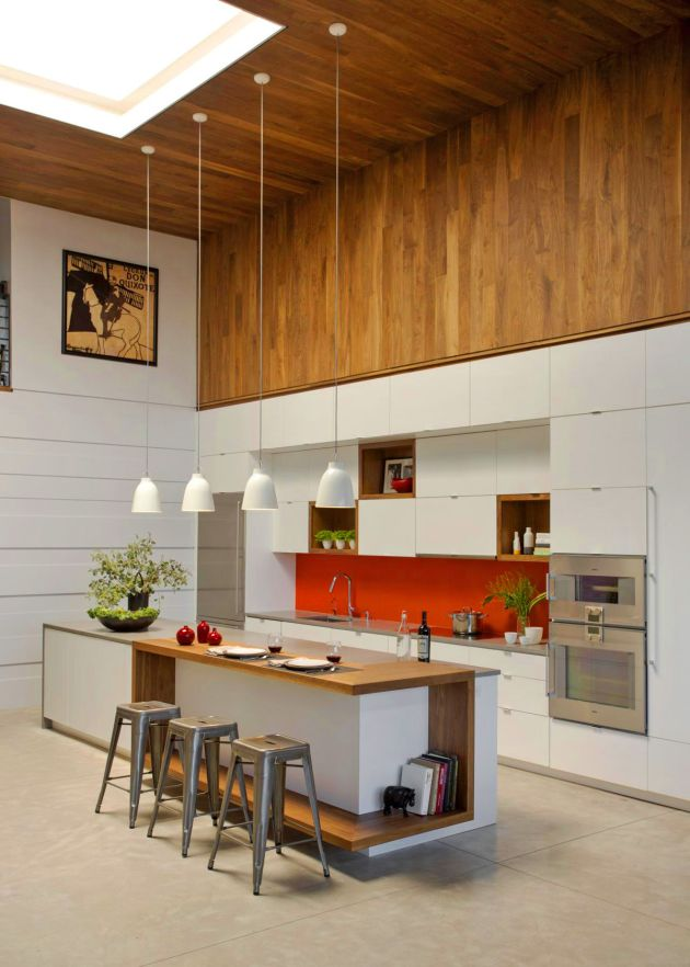 Modern Kitchen Island With Industrial Style Bar Stools