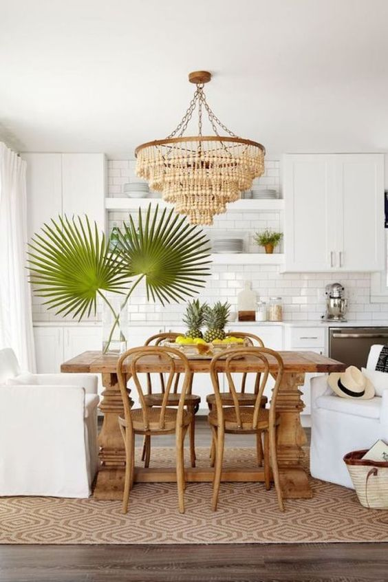 Modern Tropical Kitchen In White With A Subway Tile Backsplash