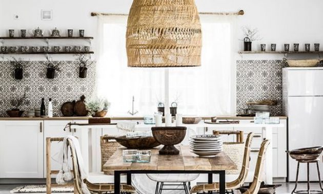 Neutral Boho Tropical Kitchen With Mosaic Tiles