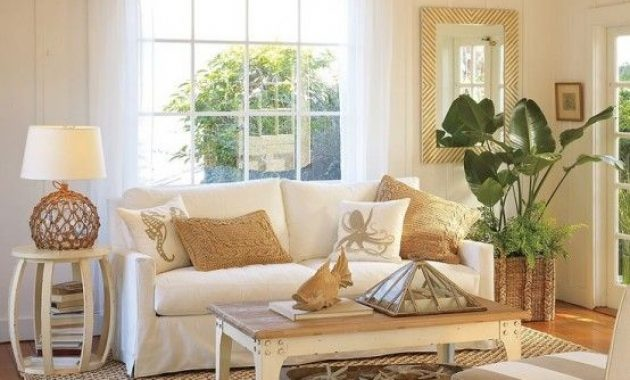 Neutral Coastal Living Room With Plenty Of Texture And Rattan