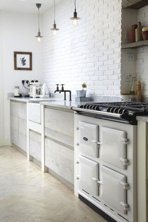 Nordic Kitchen With White Brick Wall