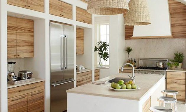 Pendant Wicker Lamps And Neutral Plywood Cabinets