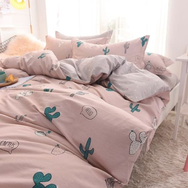 Pink Bedding Set With Fun Cactus Prints For Bedroom Decor