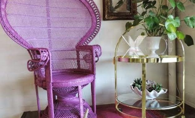 Purple Peacock Chair And A Matching Rug