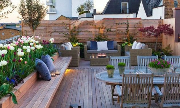 Rooftop Terrace With Benches And Planters