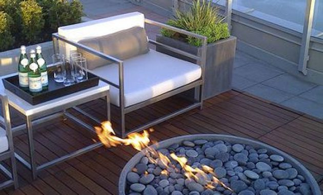 Rooftop Terrace With Unique Fire Stone