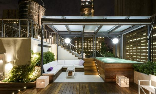 Rooftop Terrace With Wooden Floor