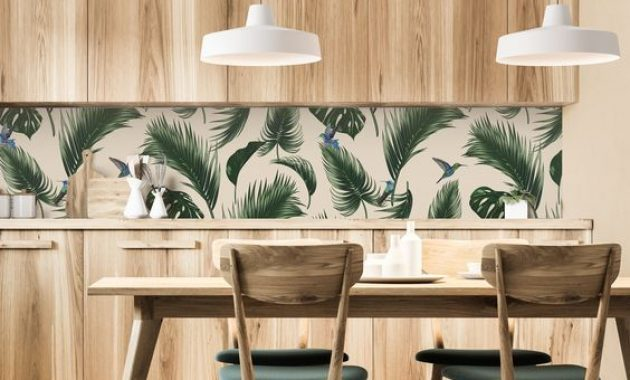 Simple And Laconic Tropical Kitchen With Plywood Cabinets