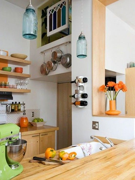 Small Contemporary Kitchen With Open Shelves And Light-Stained Cabinets