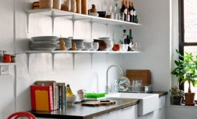 Small Contemporary Kitchen With White Cabinets And Open Shelving
