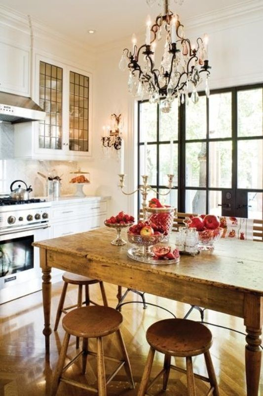 Small Eclectic Kitchen With White Farmhouse Cabinets