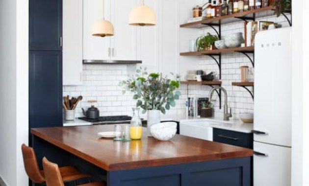 Small Farmhouse Kitchen In White And Navy
