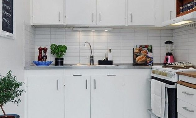Small Minimalist Kitchen With A Tile Backsplash