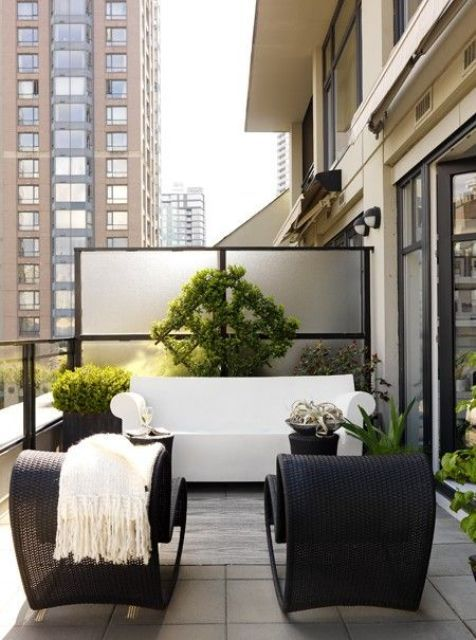 Small Terrace Design Ideas With Black Wicker Chairs And A White Sofa