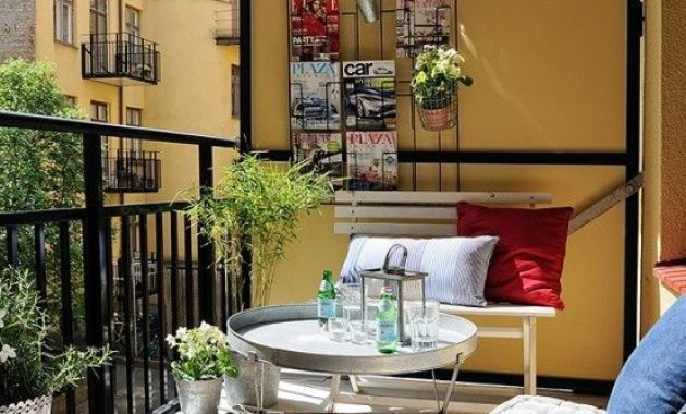 Small Terrace Design Ideas With Crate And Metal Furniture And Rugs