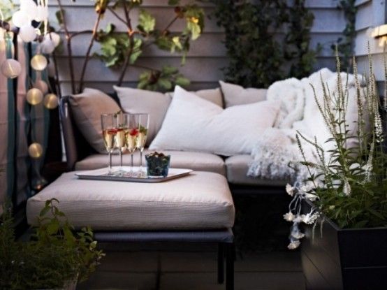 Small Terrace Design Ideas With Neutral Upholstered Furniture And Lights