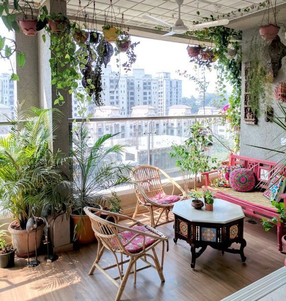 Small Terrace Design Ideas With Rattan Furniture And Colorful Upholstery