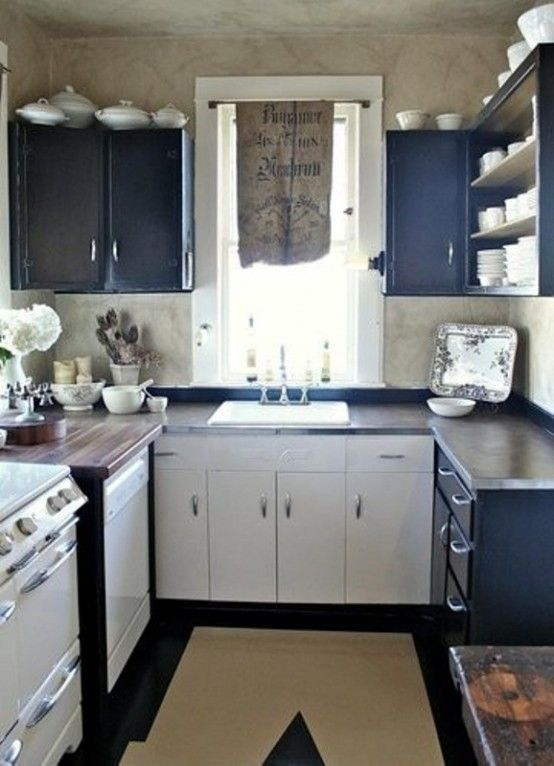 Small Vintage Navy And White Kitchen With Dark Stained Countertops