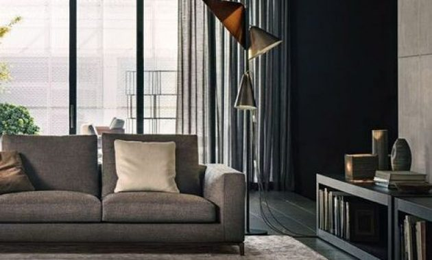 Stylish Masculine Living Room With Neutral Upholstery And A Rug
