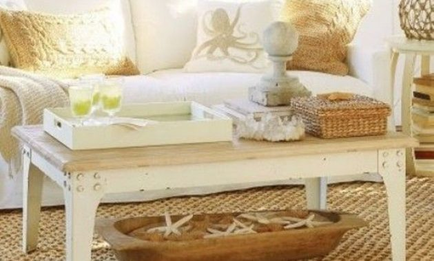 Sunlit Beach Living Room With A Wooden Coffee Table