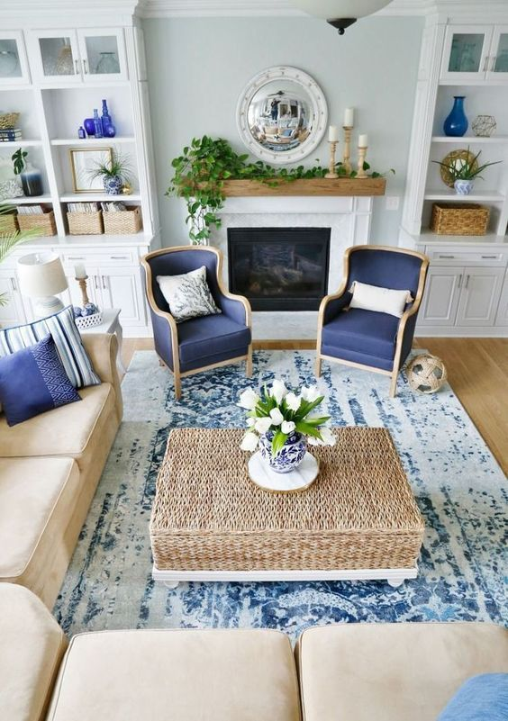 Traditional Coastal Living Room With A Tan And Navy Color Scheme