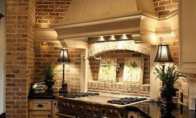 Traditional Kitchen With Brick Statement Wall