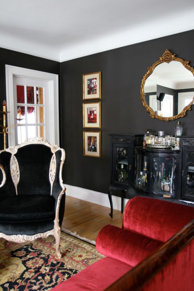 Traditional Living Room Ideas with Black Walls From Dan Davis Design