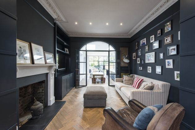 Traditional Living Room Ideas with Black Walls From Grand Design London