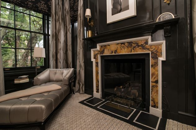 Traditional Living Room Ideas with Black Walls From Illinois Granite & Marble Ltd.