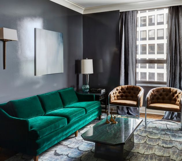 Traditional Living Room Ideas with Black Walls From KitchenLab