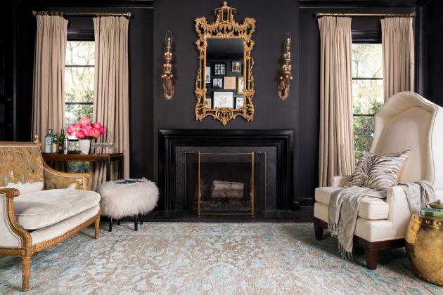 Traditional Living Room Ideas with Black Walls From Loloi Inc.