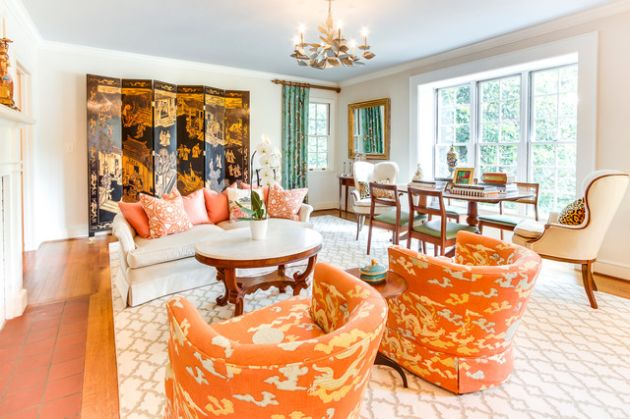 Traditional Orange Living Room Design Ideas By DUO DESIGN STUDIO