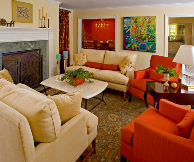 Traditional Red Living Room Design Ideas By Brownhouse Design, Los Altos, CA
