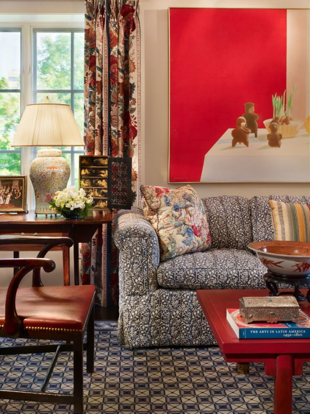 Traditional Red Living Room Design Ideas By Rhonda Sacks Interiors
