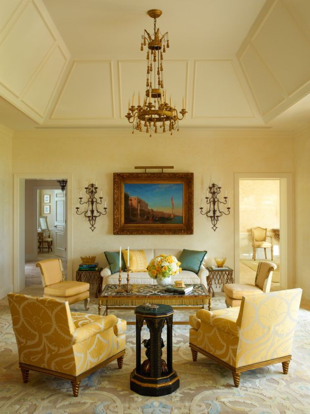 Traditional Yellow Living Room Design Ideas By Cullman and Kravis