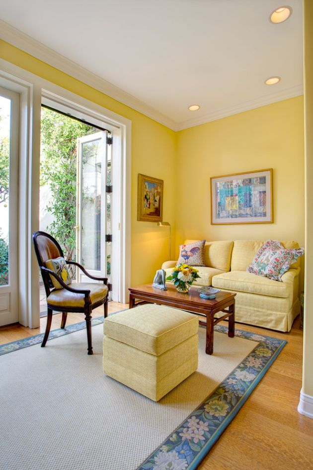 Traditional Yellow Living Room Design Ideas By William Short Photography