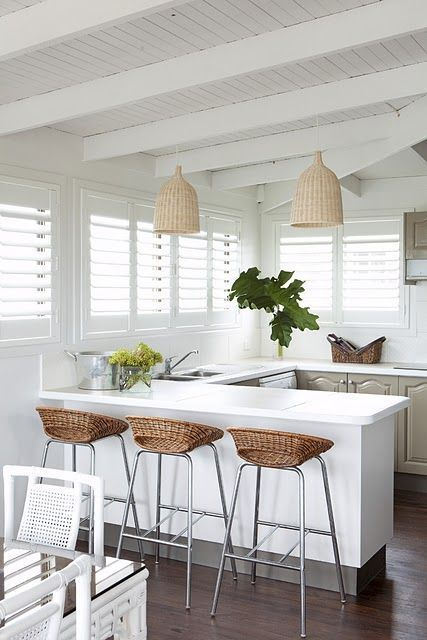 Tropical Kitchen In Grey And White With Wicker Lampshades