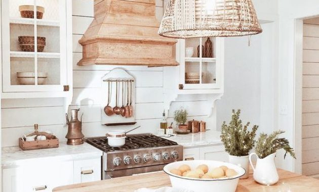 Vintage Beach Cottage Kitchen With A Wicker Lampshade