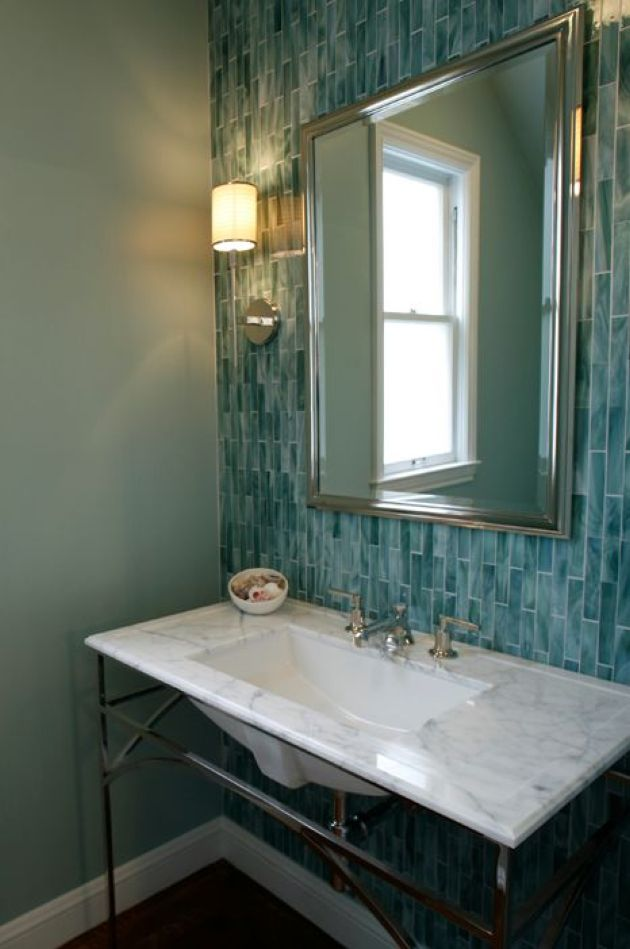Vintage-Inspired Bathroom With Mint Green Walls And A Turquoise Skinny Tile Wall