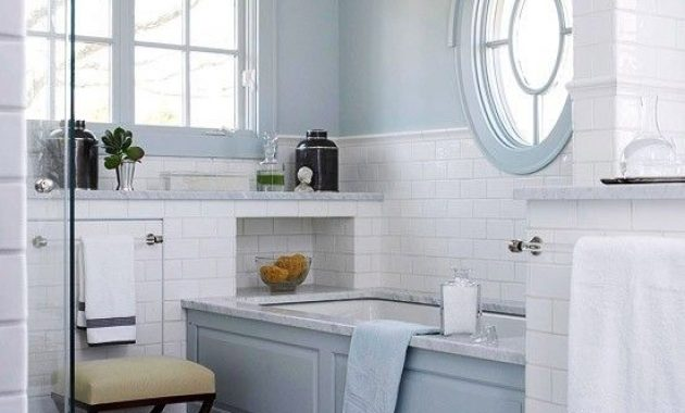 Vintage-Inspired Light Blue And White Marble Bathroom