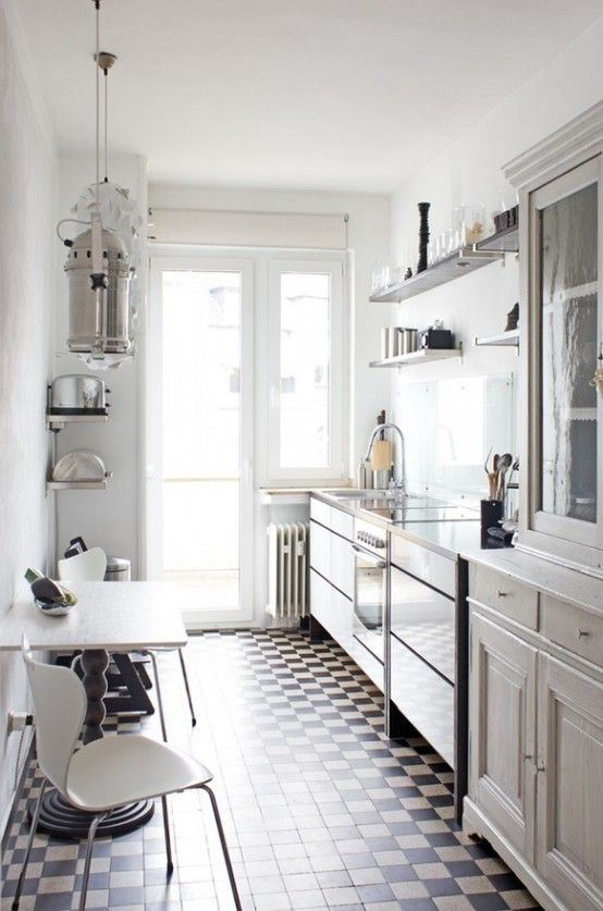 Vintage Scandinavian Kitchen With Open Shelving And Cabinets