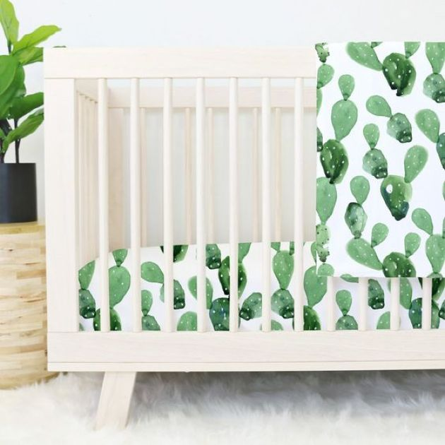 Watercolor Cactus Print Bedding For Sweet Nursery Decor