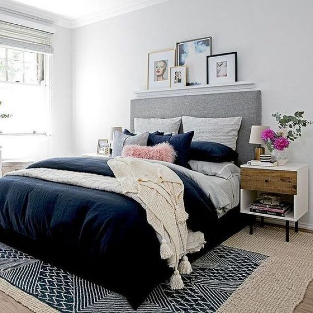 Welcoming Mid-Century Modern Bedroom With A Printed Rug