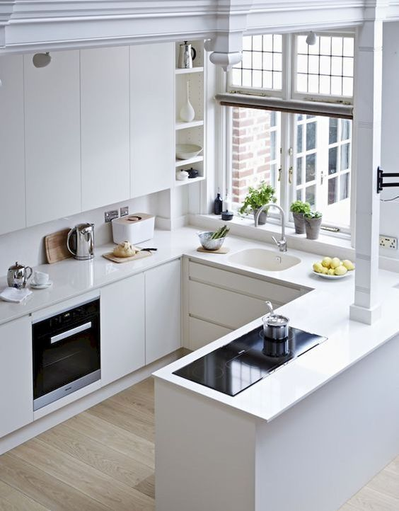 White Minimalist Kitchen With Sleek Cabinets