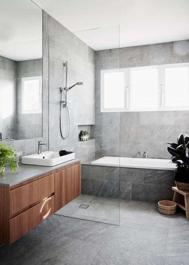 Bathroom Done With Grey Marble Tiles A Floating Vanity