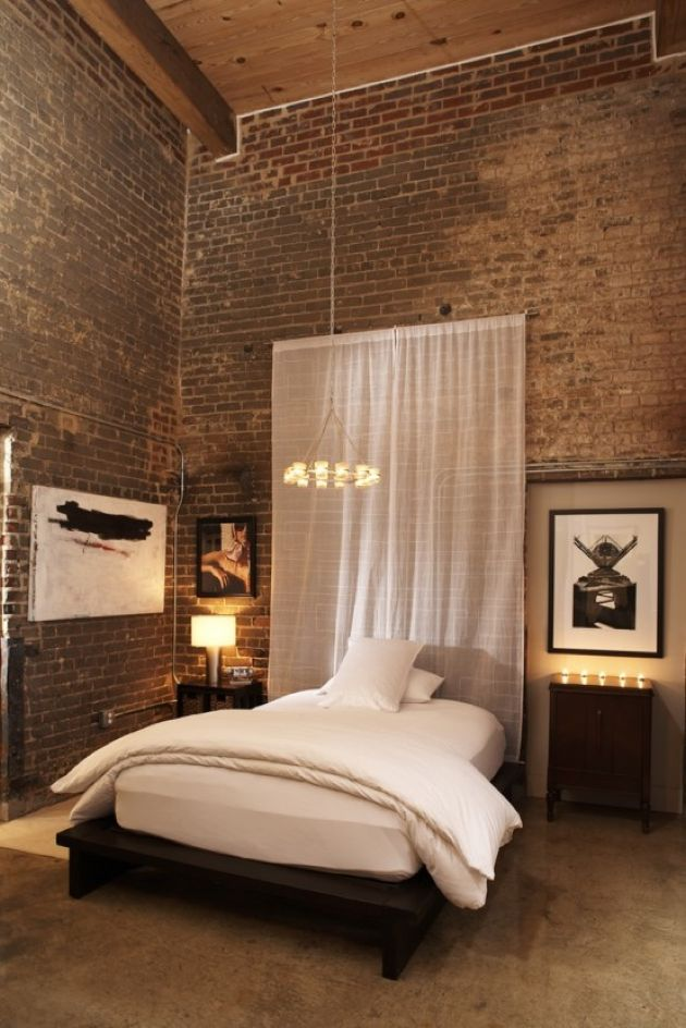 Bedroom With Exposed Brick Double Height Walls