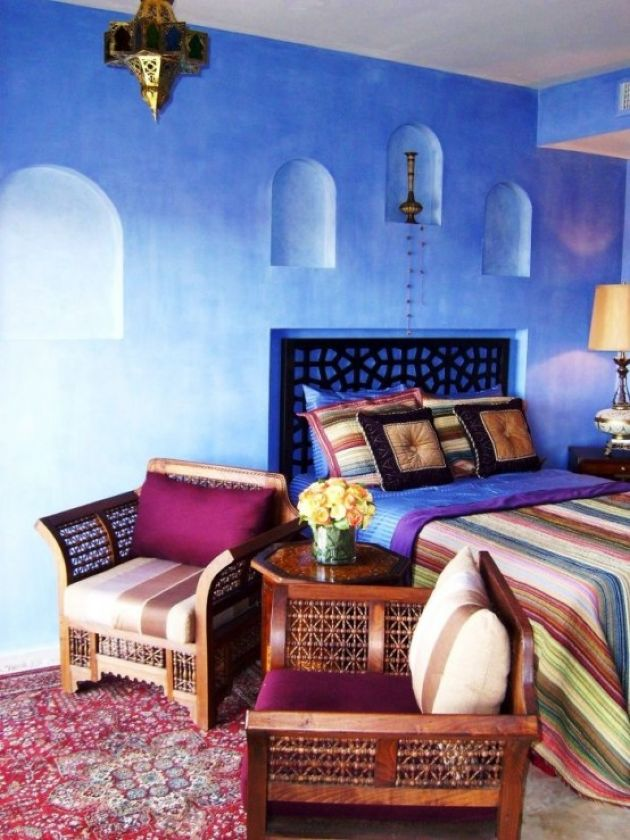 Bedroom With Moroccan Lantern And Colorful Printed Textiles